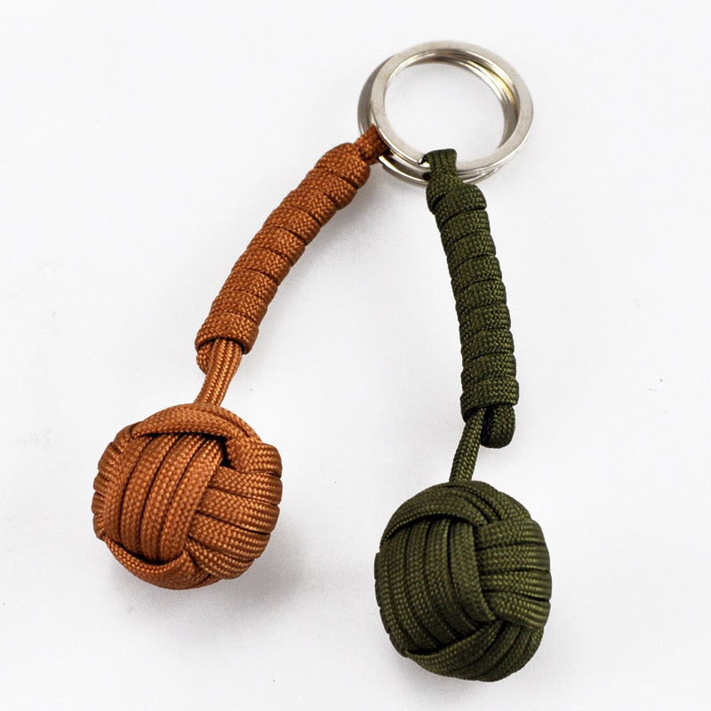 Free Shipping Key Chain Security Protection Black Monkey Fist Steel Ball Bearing Self Defense Lanyard Survival