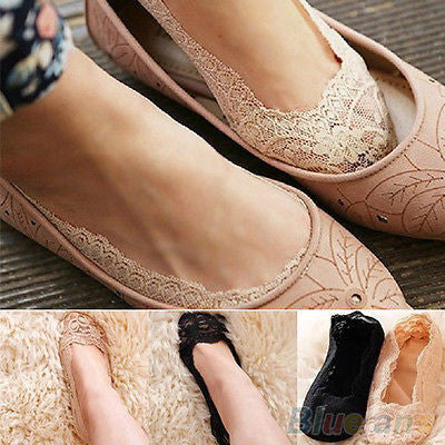 New Women Ladies Cotton Lace Antiskid Invisible Liner No Show Peds Low Cut