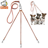 Three Way Puppy Dog Leash Coupler No Tangle Leather Triple Dog Leashes Lead For Walking 1 or 3 Small Medium Dogs Brown Color
