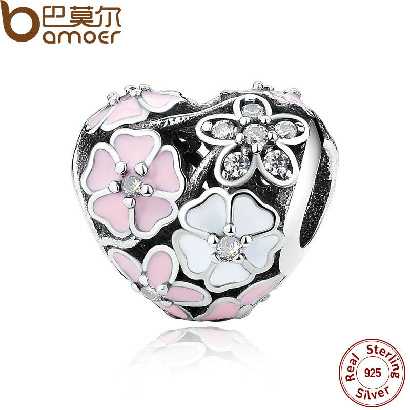 925 Silver Jewelry Poetic Blooms, Mixed Enamels & Clear CZ Heart Charms Fit Bracelet Accessories for Women PAS283