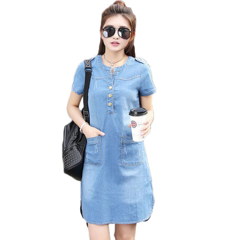 eae7886217d 2016 New Summer Style Plus Size A Line Denim Dress Women V-neck Short  Sleeve ...