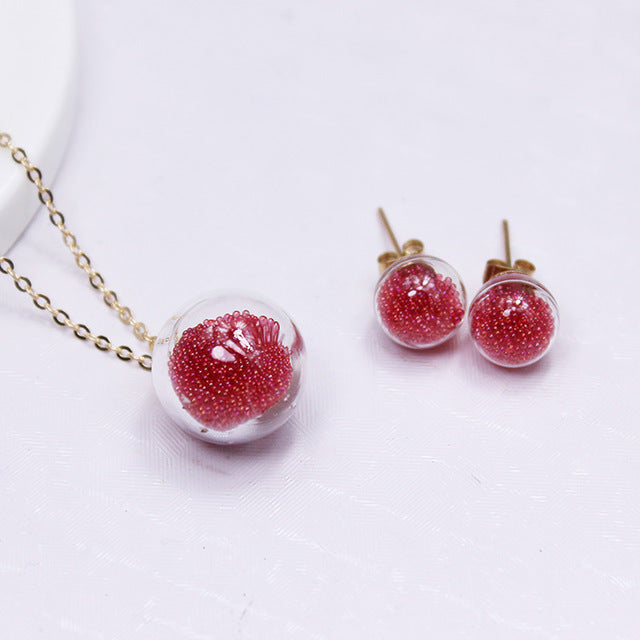 2017 new summer style beads jewelry set stud earrings for women statement candy color chain necklaces&pendant free shipping