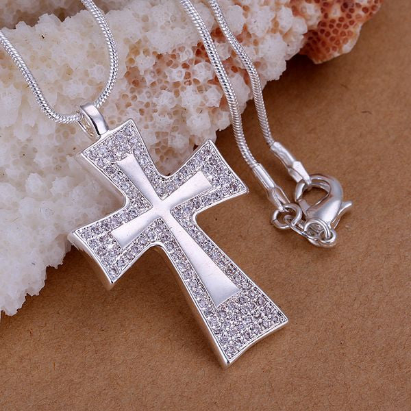 P240_2 shining 925 sterling silver Necklace, 925 silver fashion jewelry Insets large square cross /atjajkqa ayiajppa