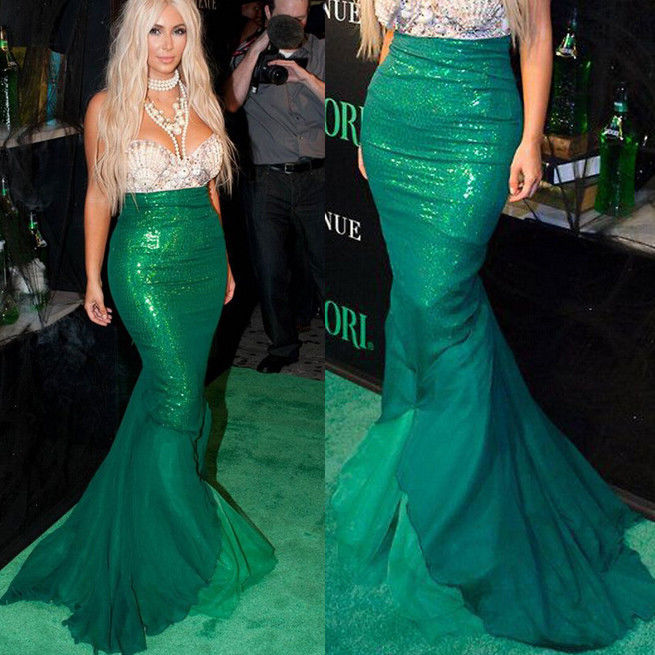Princess  Ladies Halloween cosplay Costume Fancy Party Sequins Maxi Tail long green Skirt only for adult The Little Mermaid Ariel