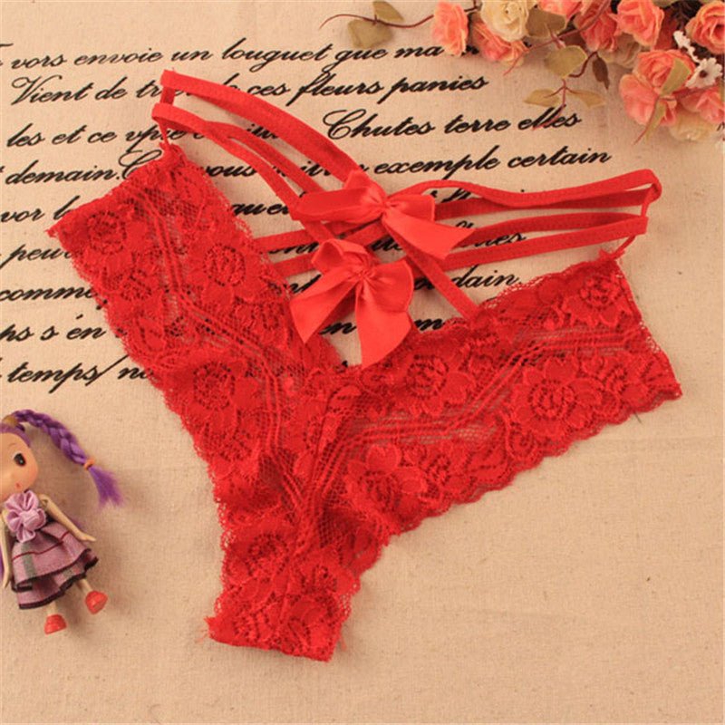 low price 0806 Newly Lingerie Lace Bow-knot Briefs Underwear Panties Sexy Ladies Knickers