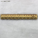 1 Pcs Korea Zakka Kawaii Cute Stationery Lace Brown Wood Ruler Sewing Ruler Office School Accessories - Blobimports.com