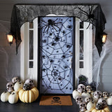 Black Spider Fireplace Mantel Scarf Halloween Decorations for Home Horror Halloween Decoration Party Supplies 188*90cm