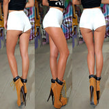 White Denim Tap Shorts Booty high waist Mini Jeans Hot Sexy vintage retro plus size for women ladies female summer 2016