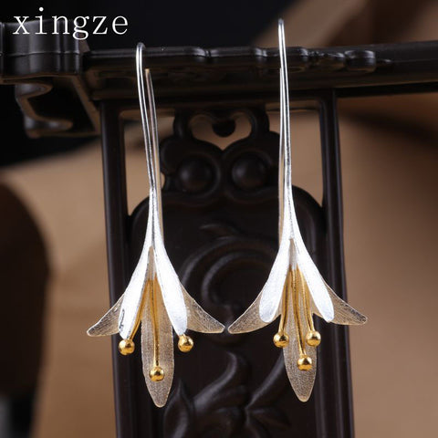 925 Silver Plated Sterling Long Flower Drop Earrings Female High Quality Handmade Flower Earrings Thailand Crafts Wholesale