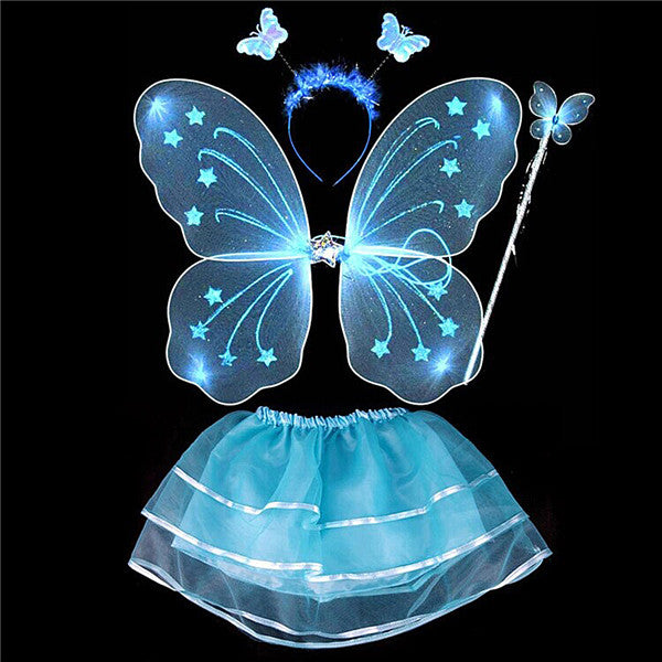 2017 4 Pcs Baby Child Kids Butterfly Wings Wand Headband Tutu Skirt Halloween Costume