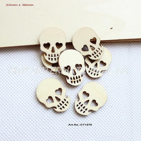 "(150pcs/lot) 30mm Blank Natural Rustic Wooden Skull Halloween Favor Scrapbooking Wholesale 1.2""- CT1275"