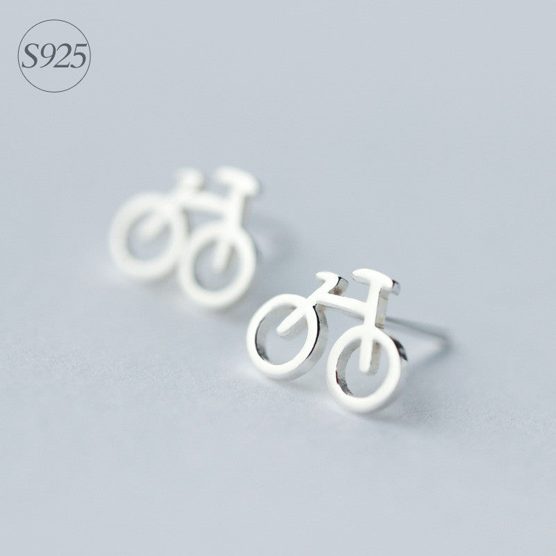 1pair Real. 925 Sterling Silver Bike bicycle Cycle stud Earrings Rider Sterling-Silver-Jewelry GTLE633