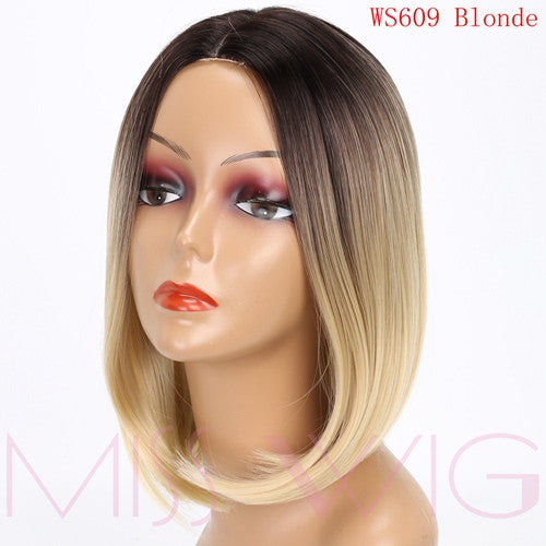 MISS WIG Pink Ombre Black Blonde Blue Gray Wig Long Straight Hair Short Wigs for Black Women Synthetic Wigs 15Colors 230g