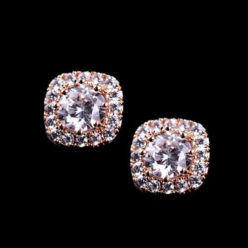 2016 New 925 Sterling Silver Big Cubic Zirconia Stud Earrings Fashion Jewelry For Women Anti-allergic Earrings