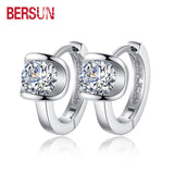 Bersun 2016 New 925 Sterling Silver Women Small Earrings Fashion Fine Jewelry Angel Kiss Luxury Crystal Stud Earrings Wholesale