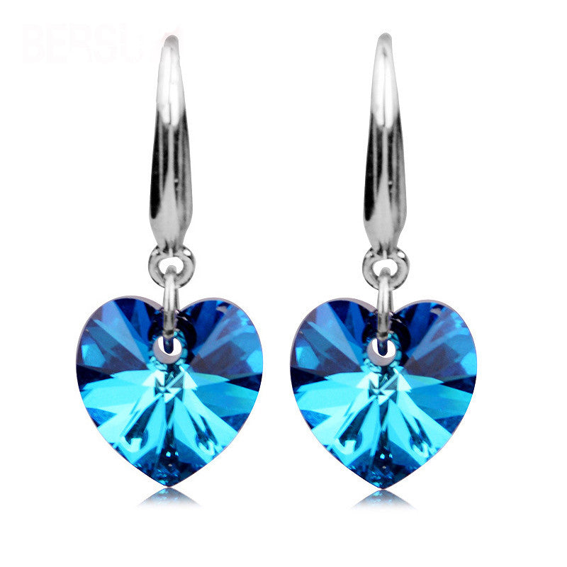 Fashion 925 Sterling Silver Earrings High Grade Blue sapphire Crystal Heart Earring Women Oriharcon Ear Jewelry Nightclubs Party