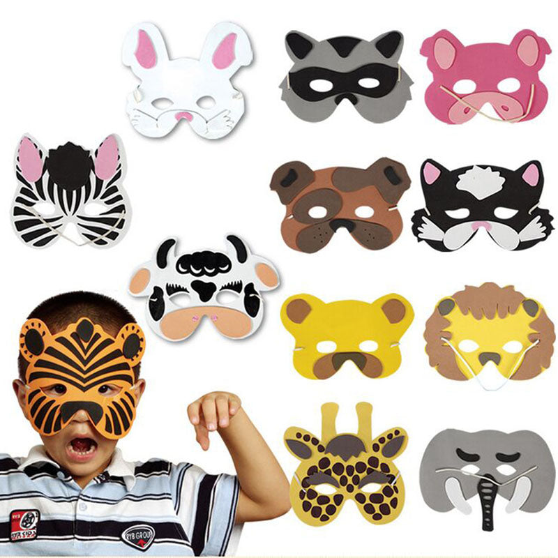 E74 Nice 1 set/12Pcs Animal Head Mask for Cosplay halloween costume for Children Zoo Party Supplies mascaras de paintball