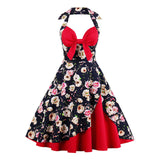 S-3XL 4XL Plus Size Retro Swing Rockabilly Floral Bowknot Backless Party Dresses Sleeveless Women Vintage Dress Tunic Vestido