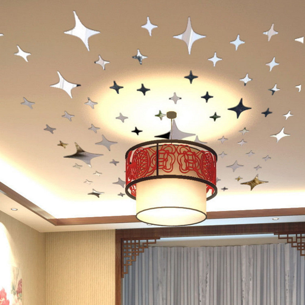 2015 43pcs Twinkle Stars Ceiling Decor Crystal Reflective DIY Mirror Effect 3D Wall Stickers Home TV Background Decor