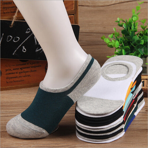 (10 pairs = 1 lot) Lovers slippers shallow mouth socks colorful series stealth design couples socks silicone gel slip socks men