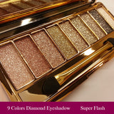 9 Colors Diamond Bright Makeup Eyeshadow Naked Smoky Palette Make Up Set Eye Shadow Maquillage Professional Cosmetic With Brush