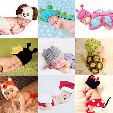 c3e61b4fed7 Newborn crochet baby costume photography props knitting baby hat bow infant  baby photo props new born ...