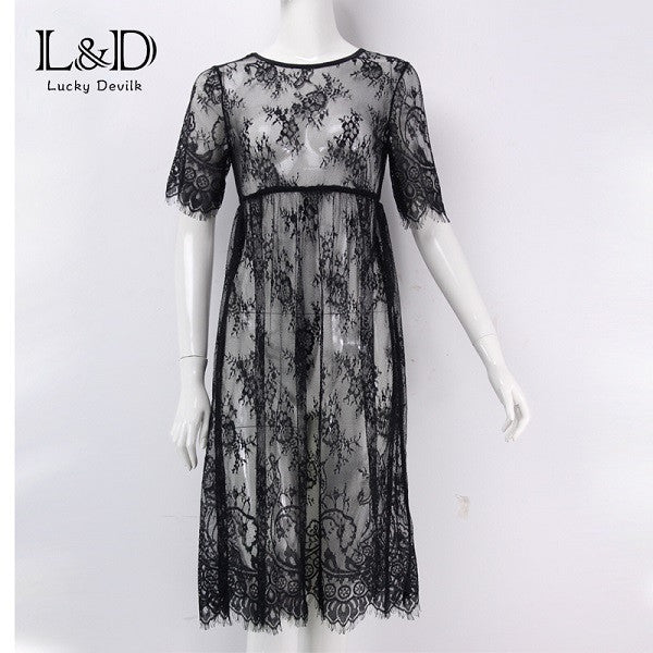 Women Midi Dresses Casual Long Black Short Sleeve O Neck See Through Beach Wear Lace Sexy Dress DR5992