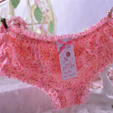 2016 New Women Briefs Lovely Dot Girls Female Underwear Sexy Thongs Lace Ruffles Women's Sheer Panties