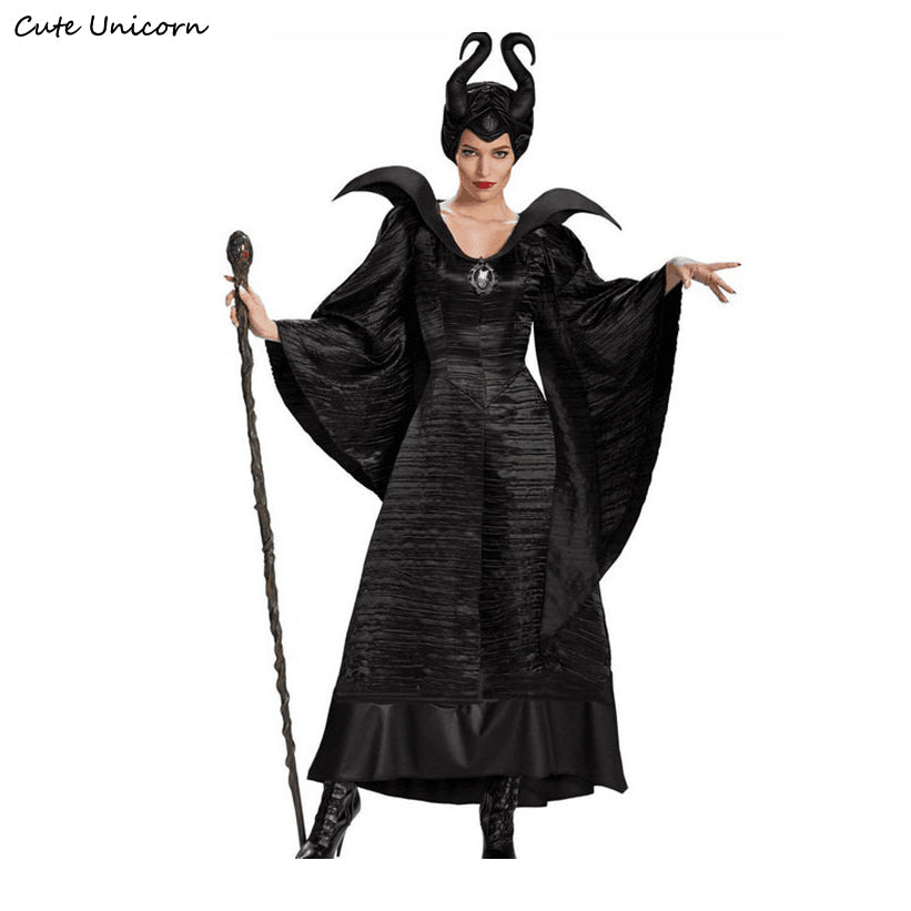 Maleficent Halloween Costumes for women Witch Cosplay Fairy Tale Sleeping Beauty Curse Witchcraft Black Dress sexy outfit