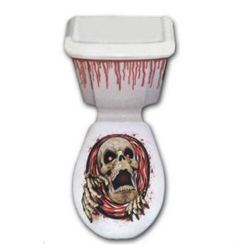1Pc PVC Toilet Seat Cover HALLOWEEN Style Scary Horror Party Decoration Sticker Paste Bathroom Wall Stickers Toilet  Stickers