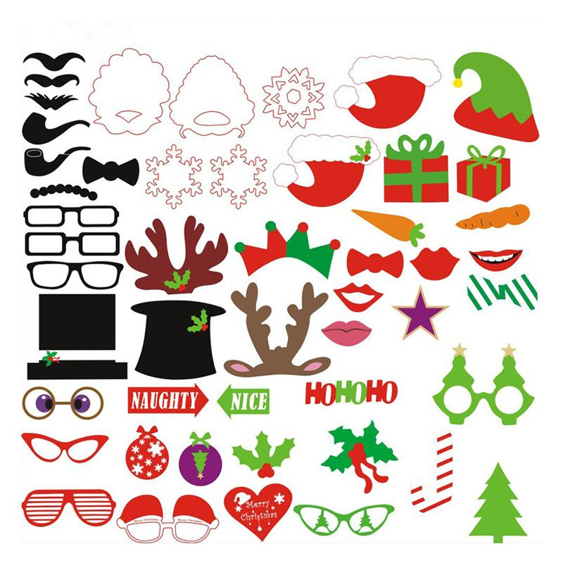 50pcs/Set DIY Christmas Photo Booth Props Hats&Glasses On A Stick DIY Wedding Party Fun Favors Christmas Party Photo Booth Props