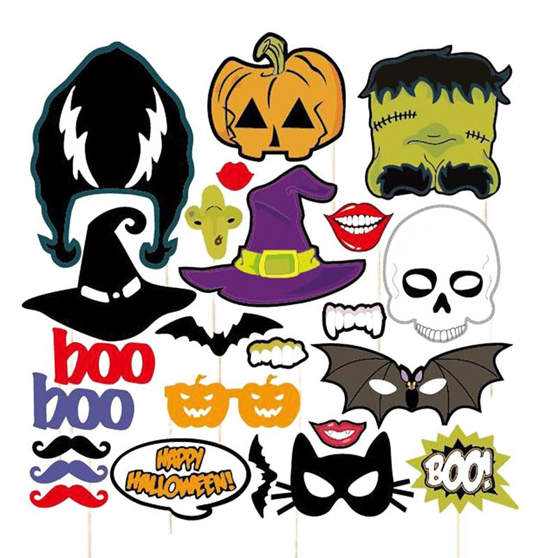 24pcs/Set Bar Party Halloween Terror Mask DIY Photo Booth Props Party Pub Decor Birthday Wedding Party Christmas Decorations