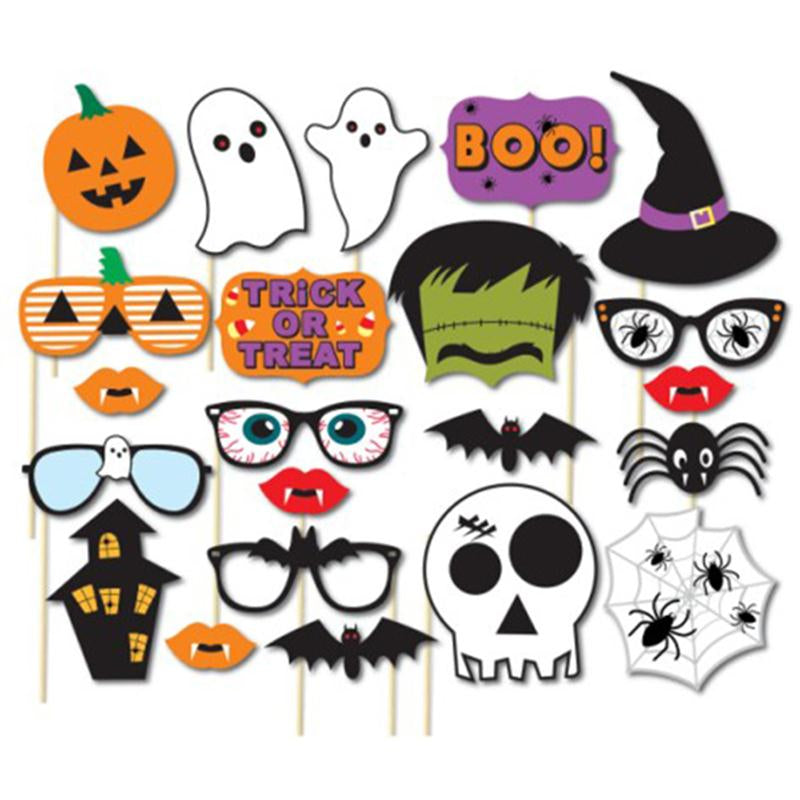 22pcs/Set Holloween Prop Photo Booth Props DIY Kit For Party Supplies Featuring Boo Pumpkin Ghost Party Decoration