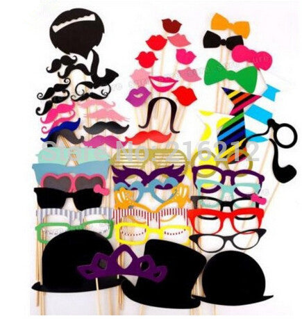 Fashion Hot 58pcs/set Funny Photo Booth Props Hat Mustache On A Stick Wedding Birthday Party Favor jk23