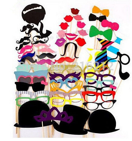 58pcs/set Funny Photo Booth Props Hat Mustache On A Stick Wedding Birthday Party Favor jk23