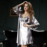 New Couple Bathrobe Emulation Silk Women Twinset Robes Long Sleeve Sleepwear For Men Silk Satin Pijamas Casual Homewear