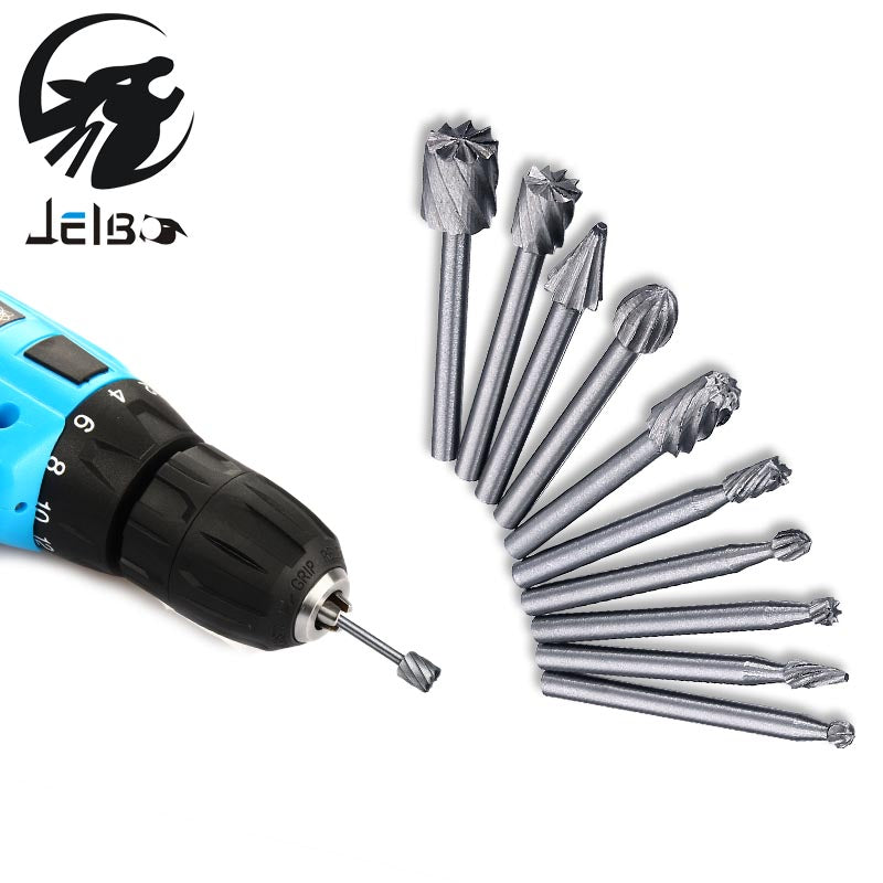 Jelbo Dremel 10pc Dremel Drill Power Tools Drill Bit Milling Cutter Electric Grinder Head Engraving Cutter Carving Knife