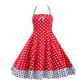 Dot Retro Audrey Hepburn Vestidos 2016 Woman Vintage Dress Big Swing Polka Dot Backless Rockabilly Ball Gowns Plus Size Dresses