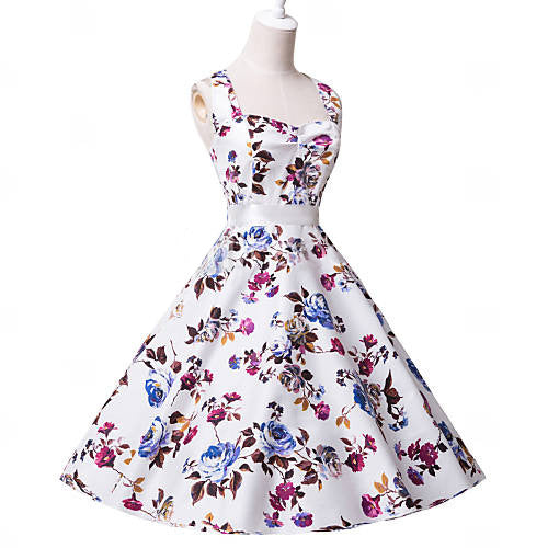 2016 Summer Women Casual Floral Print Rockabilly Vintage Swing Dress Elegant Belted Sexy Backless Evening Party Rockabilly Dress