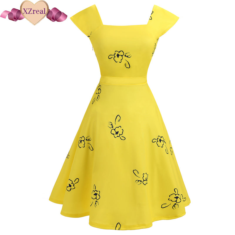 Vestido Vintage Robe Female Backless Dress Pin Up Tuinc Summer Dress Women Yellow Rockabilly Medival Retro Swing Midi Dresses