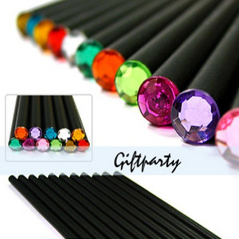 (12Pcs/Set) Pencil Hb Diamond Color Pencil Stationery Items Drawing Supplies Cute Pencils For School Basswood Office School Cute - Blobimports.com