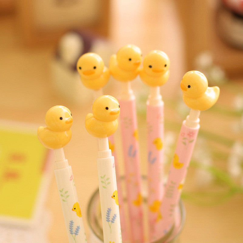 1 Pics 0.5mm Kawaii Cute Korean Yellow Duck Animal 3D Ballpoint Ball Point Pens For Writing Office School Supplies Stationery - Blobimports.com