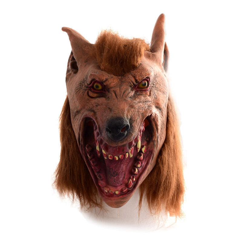 Halloween brown Creepy Adult wolf head latex Rubber Mask Costume Prop Novelty nu knock off
