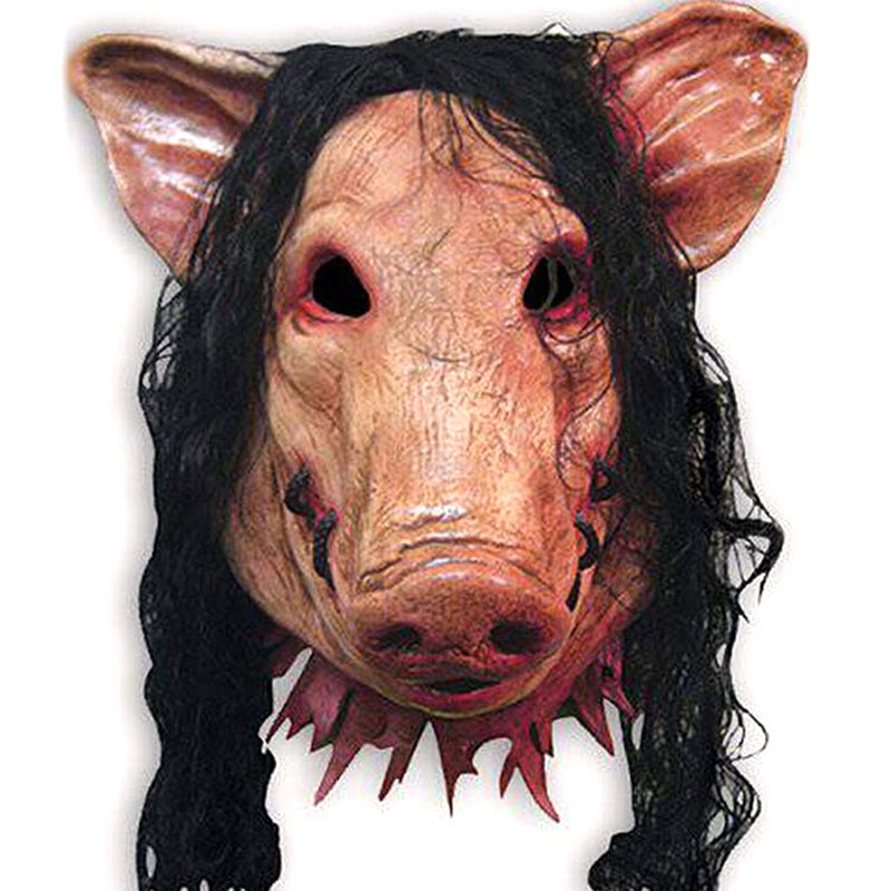 Pig Head with Black Hair Silicon Masks Halloween Party for Full Head Cosplay Costume Moive Tools Adult Saw Animal Scary Masks