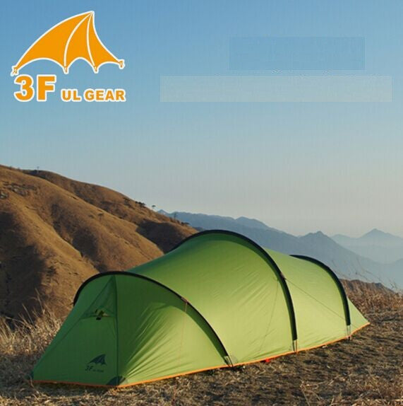 3f ul gear 2 person 2 room Tunnel tent outdoor camping hiking cycling climbing ultralight large space 4 season tents