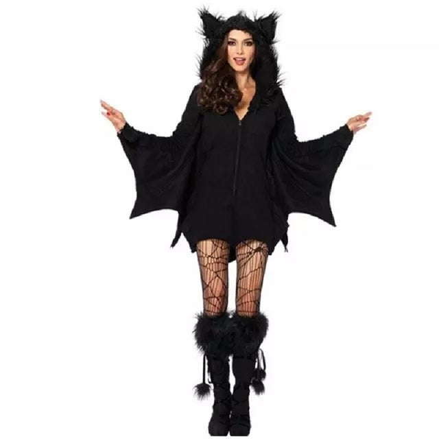 Bat Cosplay Uniforms Queen Hooded Jumpsuit Female Witch Halloween Costumes for Women 2017