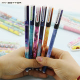 6 Pcs / set Color Gel Pen Starry Pattern Cute Kitty Hero Roller Ball Pens Stationery Office School Supplies