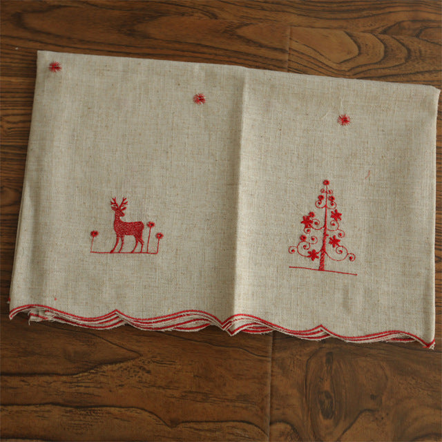 1 pc Kitchen Curtain Coffee Curtain Polyester Dust-Proof Pleated Christmas Red and gold Deer Embroidery Decoration For Kitchen 1 PCS