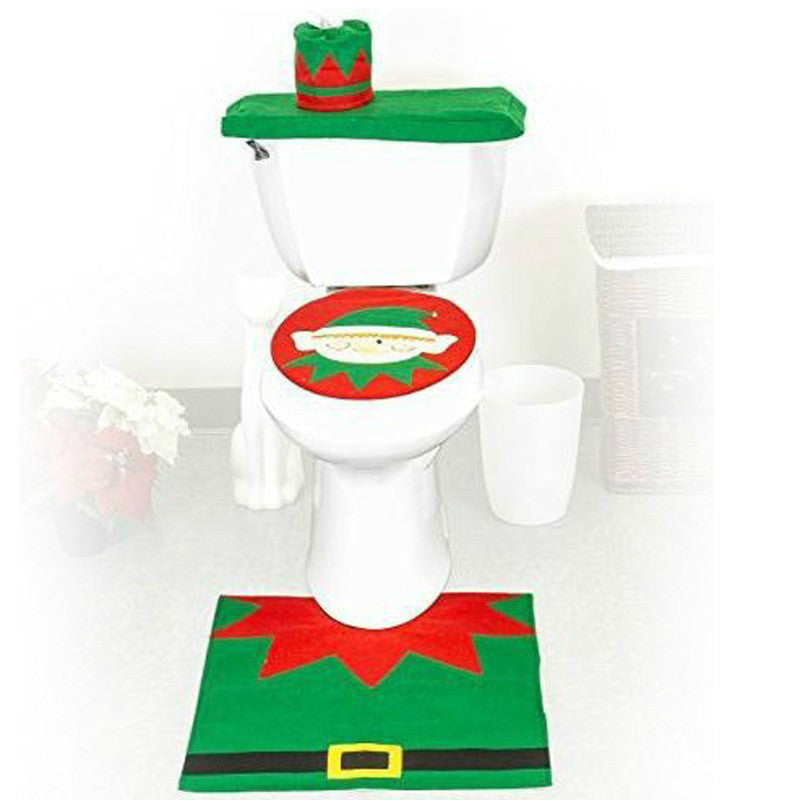 3Pc/Set Christmas Elf toilet sets Bathroom Toilet Seats Cover set Xmas Decoration Supplies Free shipping 5ZHH147