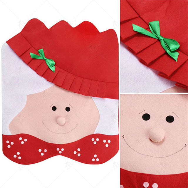 2 pc Mr & Mrs Santa Claus Cute Chair Back Seat Covers Dinner Decor Christmas Room Decoration Dining Chair Slipcovers